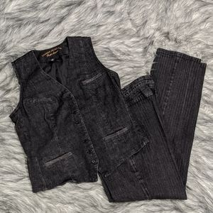 Ralph Lauren faded black denim vest + pants